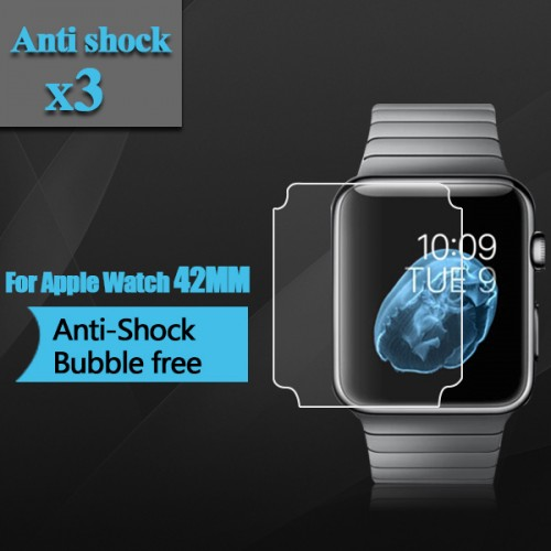 Premium TPU Anti Shock Screen Protector for Apple Watch 42mm Full Screen Coverage Clear Screen Film