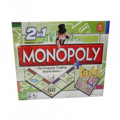 2 in 1 Monopoly Property Trading + Ludo Board Game