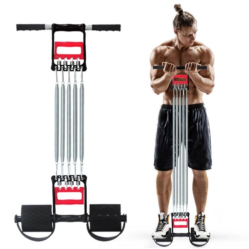 Multi-functional Spring Muscle Developer Men Fitness Stainless Steel Workout Equipment Resistance Bands With Pedals