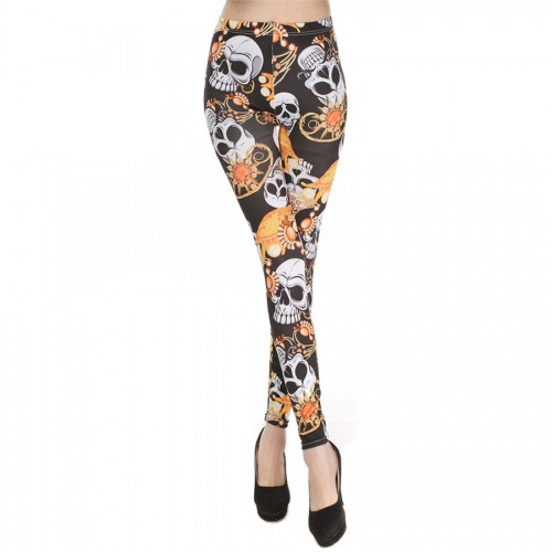 Womens Milk Silk Pants Skull Printed Skinny Leggings