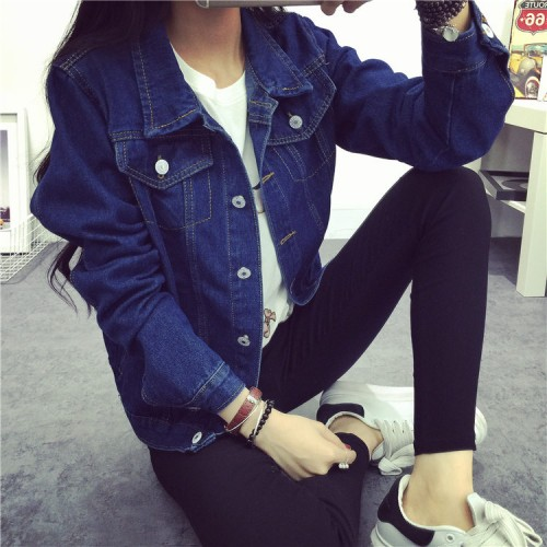 Women fashion blue denim coat jacket spring autumn casual denim jacket free shipping