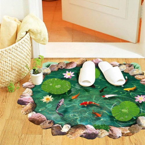 3d lotus fish water pool floor stickers room decor home decals pvc pastoral mural wall art pastoral poster Lotus