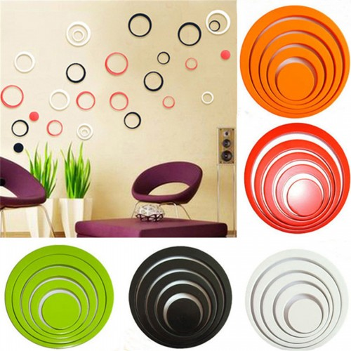 New Design Indoors Decoration Circles Stereo Removable 3D Art Wall Stickers Home Room Decals