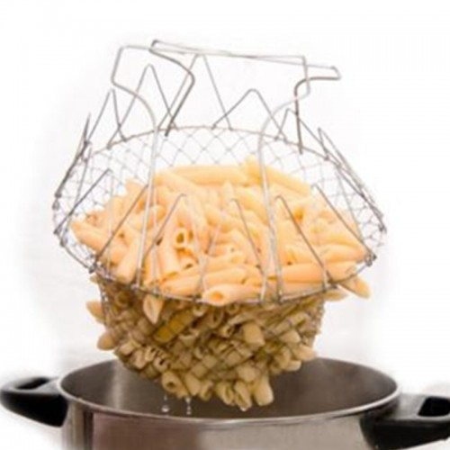 Food Frying Basket Stainless Steel Foldable Steam Strain Chef Basket Magic Basket Mesh Strainer