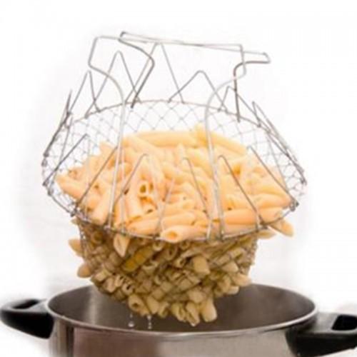 Food Frying Basket Stainless Steel Foldable Steam Strain Chef Basket Magic Basket Mesh Strainer