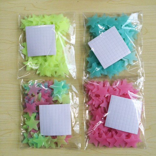100pcs 3D Stars Glow In Dark Luminous Fluorescent Plastic Wall Sticker Home Decor