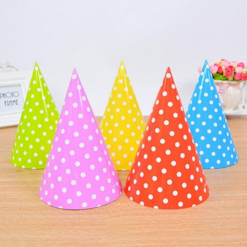 6 Pieces Polka Dot Paper Birthday Hat Party Headwear Event Caps