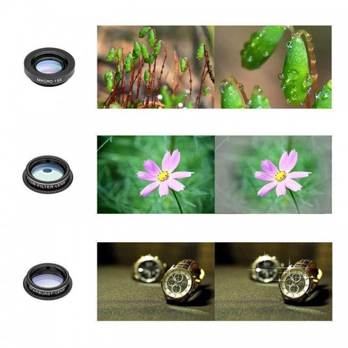 10 in 1 Mobile Phone Lens Kit Fish eye Wide Angle Telescope Macro Lens For Smart Phones