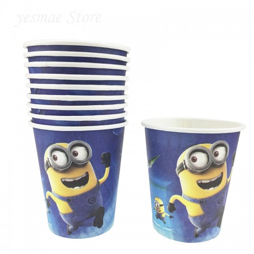 10 Pieces Minions Birthday Decorations Kids Baby Party Supplies Disposable Paper Cups