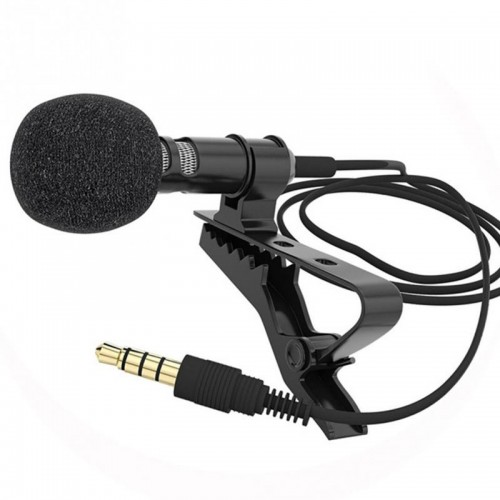 Metal Mono Lapel Lavalier Microphone Omni-Directional Clip-On Mic With Cable