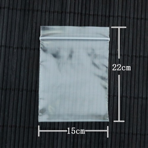 50 Pieces Transparent 22cm X 15cm Zip Lock Plastic Bags (Useable Space: 19.5cm X 15cm)