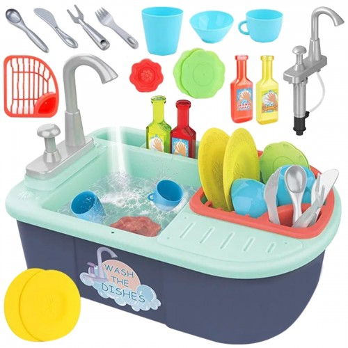 Dishwasher Pretend Playset Dish Kitchen Toys With Manual Running Water
