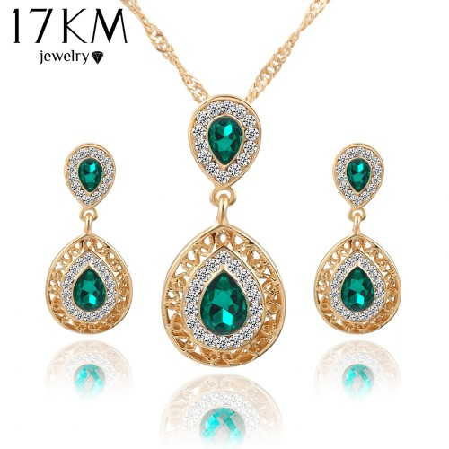 Charm Crystal Water Drop Pendant Necklaces Earrings Cubic Zircon Jewelry Set