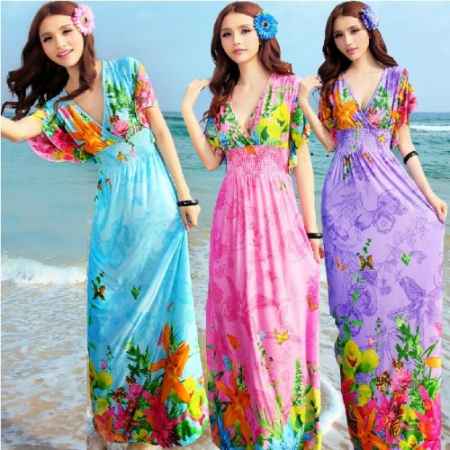 Bohemia Dress Short Sleeve Flower Butterfly Printed Floral Woman Long Maxi