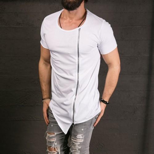 Stylish Long T shirt Asymmetrical Side Zipper