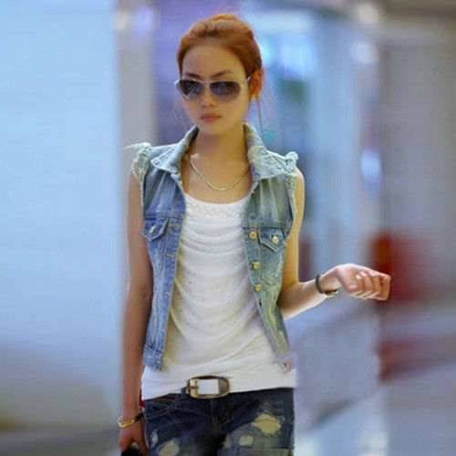 Denim Slim Cardigan Casual High Waist Coat
