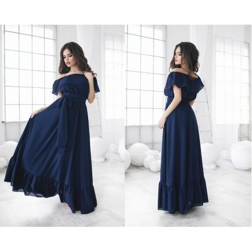 Solid Summer Off The Shoulder Slash Neck Brief Style Loose Floor-Length Polyester Dress Blue