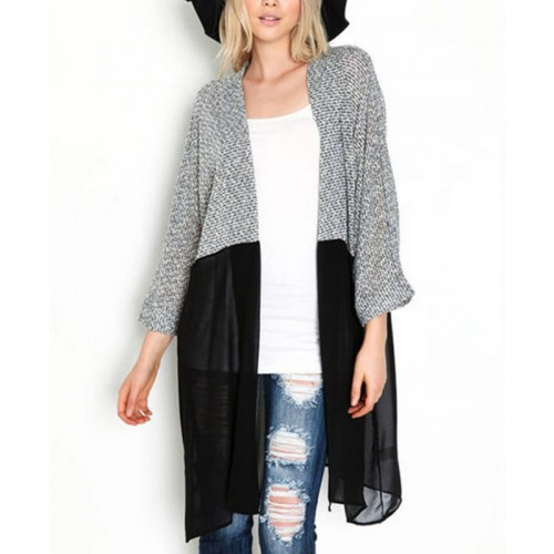 Cardigan Knitted Patchwork Bat Sleeved Long Casual Coat