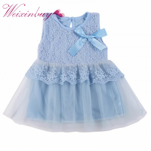 Baby Girls Dress Children Cotton Ball Gown Kids Bow Lace Princess Dresses