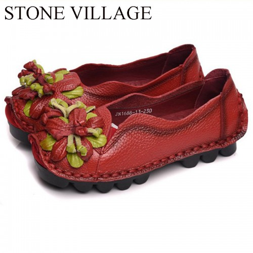 Ethnic Style Genuine Leather Women Shoes Handmade Flower Vintage Flat Shallow Slip-On Casual Shoes