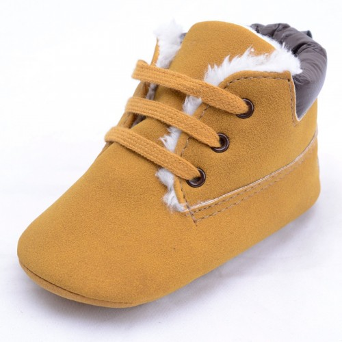 Baby High-Top Sneaker Toddler Warm Shoes Anti-Slip Soft Soled Lace Up Snow Boots