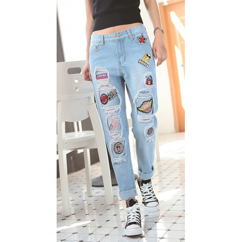 New Summer Style Women Jeans ripped Holes Harem loose women  plus jeans pants