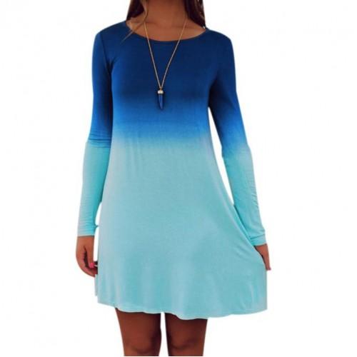 Long Sleeve Casual Gradient Color Mini Dress
