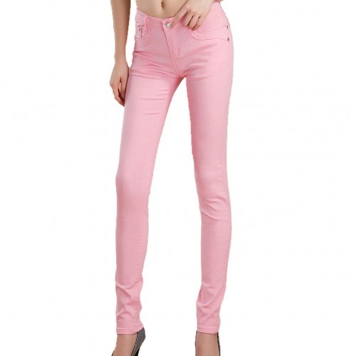 Pink Female Stretchable Cotton Jeans Pencil Pants Denim Trousers