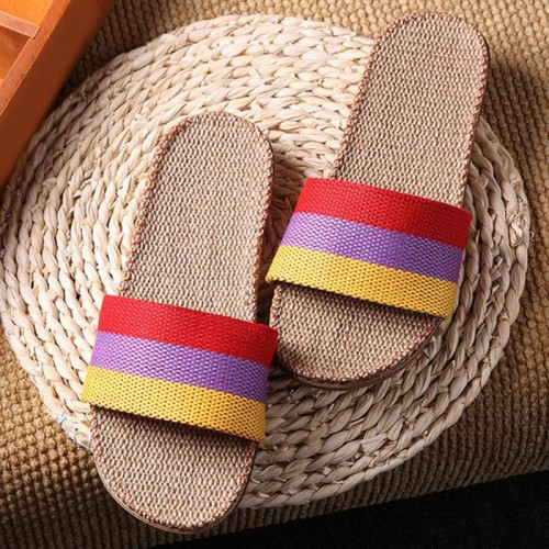 Summer Unisex New Linen Slippers Couples Bedroom Indoor Shoes Anti-skid slippers