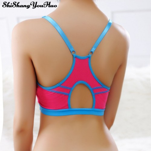 Girls Breathable Sports Running Gym Striped Push Up Seamless Padded Wirefree Shakeproof Bra