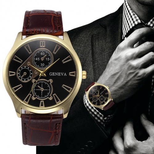 Luxury Retro Design Leather Band Analog Alloy Quartz Mens Wrist Watch
