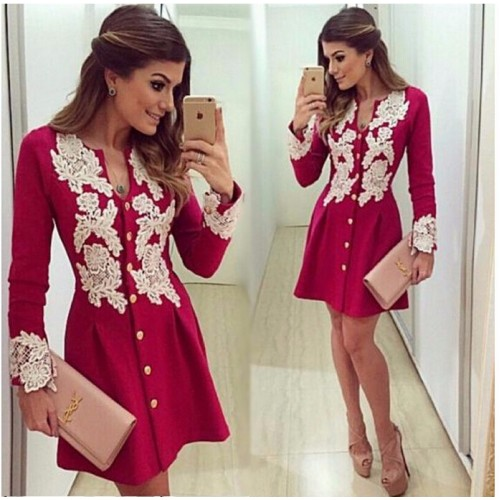 Red Cotton Long Sleeve v-neck Lace Dresses