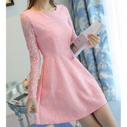 Long Sleeve Lace Casual Party Dress