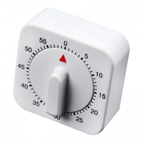 Effective Novelty Alarm Clock for Kitchen White Square Mechanical Timer 60-Minute Reminder Counting Count Down