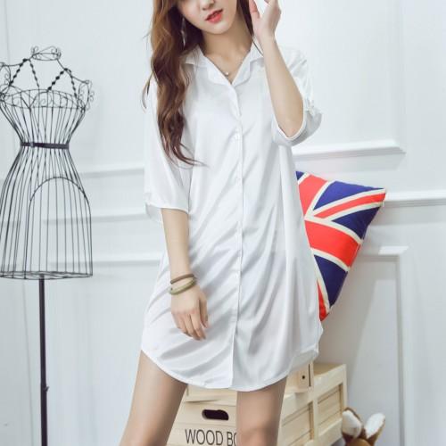 8031a7f497 Ice Silk Loose Sleepwear Summer Shirt