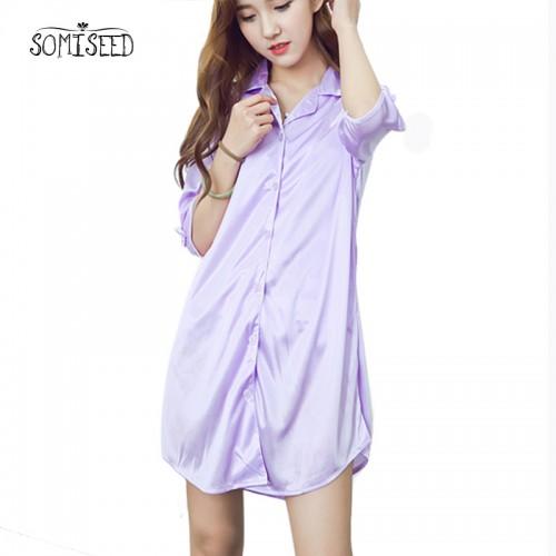 Ice Silk Loose Sleepwear Summer Shirt