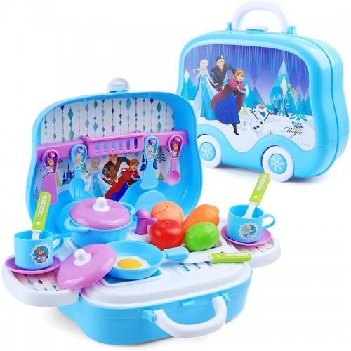 Disney Frozen  Kitchen Suitcase Children's Toys House Girls Cook Cooking Simulation Kitchenware
