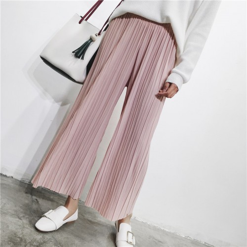 Spring Summer High Waist Pleated Wide Leg Pants Women Solid Loose Casual Palazzo Pants Ladies Ankle Length Trouser