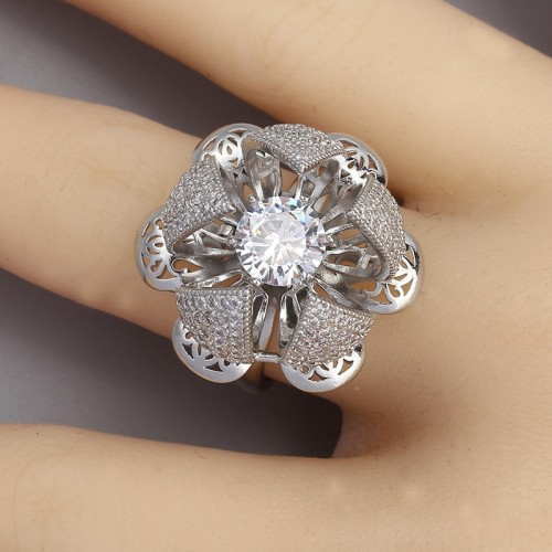 Women Rose Flower Adjustable Creative Rotating Stainless Steel Ring Elegant Jewelry