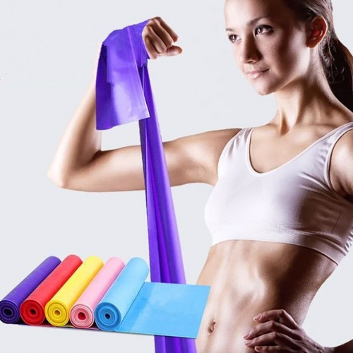 5pcs Strap Elastic Yoga Pilates Stretch Resistance 1.5m Long Exercise Fitness Band Belt Gym Fitness