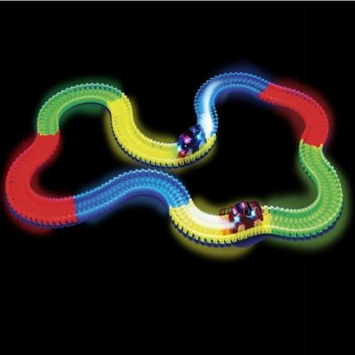220Pcs Kids Rail Track Car DIY Assemble Kits Luminous Rail Track Toy Car Roller Coaster Glow Track