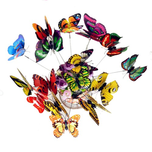 25Pcs Colorful 3D Double Layer Butterfly On Sticks Home Yard Lawn Flowerpot Plant Decoration