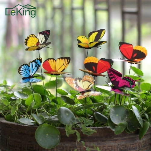15Pcs Colorful 3D Double Layer Butterfly On Sticks Home Yard Lawn Flowerpot Plant Decoration
