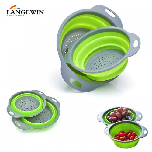 2Pcs/Set Collapsible Silicone Kitchen Vegetable Fruit Round Drainer Baskets Folding Strainers Kitchen Tools