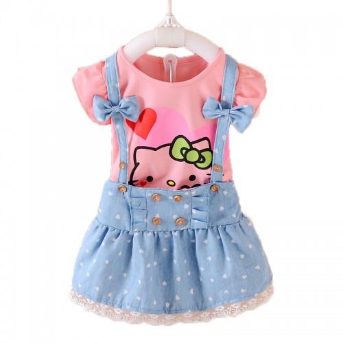 2 Pcs Girls Dress Summer Kids Clothes Hello Kitty Lovely Princess Clothing Sets