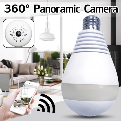 360 Degree Panoramic Light Bulb Camera Wireless WiFi Induction Real-time Monitoring Camera Home Security Protection