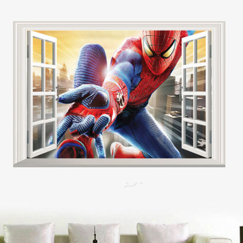 3D Amazing Spiderman Wall Stickers Vinyl Art Decal Boys Kids Bedroom Wallpaper
