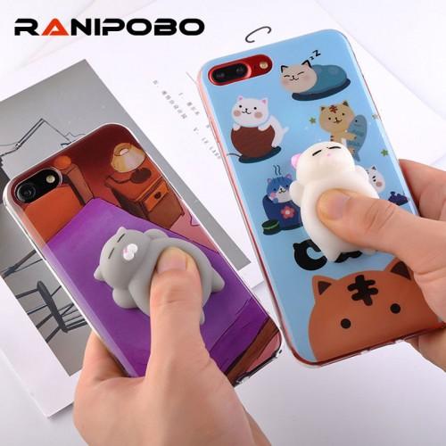 3D Cute Soft TPU Silicone Squishy Cat Fundas Phone Case
