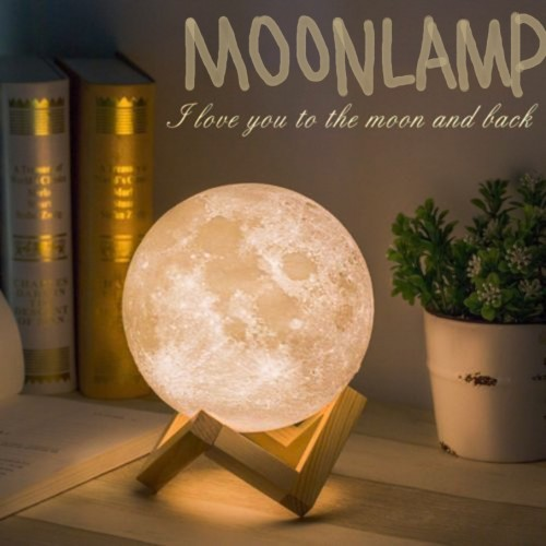 3D Magical Moon LED Night Light Desk Lamp 3 Light Colors For Home Decoration