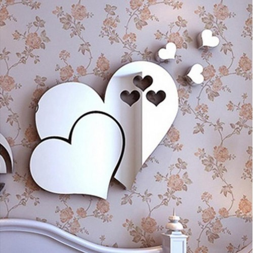 3D Mirror Love Hearts Wall Sticker Decal DIY Home Room Decor